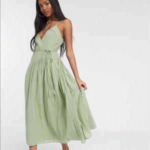 NWT ASOS Green Cotton Wrap Midi Dress Size 12